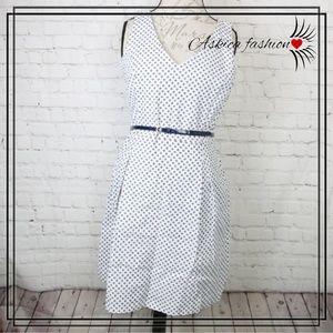 Tommy Hilfiger belted White Midi A-Line dress